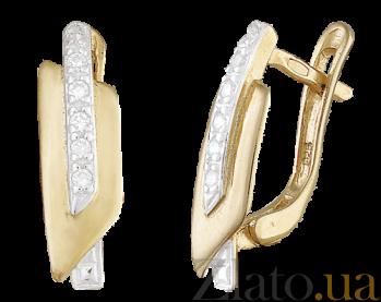 Позолоченные серьги из серебра с фианитами Киара SLX--С3Ф/051