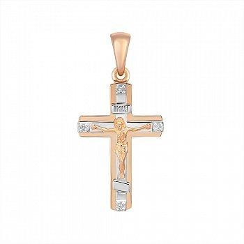 Золотой крестик в комбинированном цвете с бриллиантами 000148707