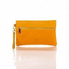 Кожаный клатч Genuine Leather 8046 мандаринового цвета с короткой ручкой на запястье