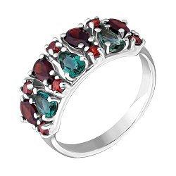Серебряное кольцо с гранатами и кварцем 000063316
