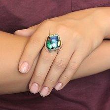 Серебряное кольцо Витраж с имитацией опала