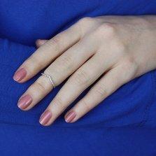 Серебряное разомкнутое фаланговое кольцо Силуэт с кристаллами циркония