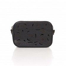 Кожаный клатч Genuine Leather 1654 черного цвета с перфорированными узорами и плечевым ремнем