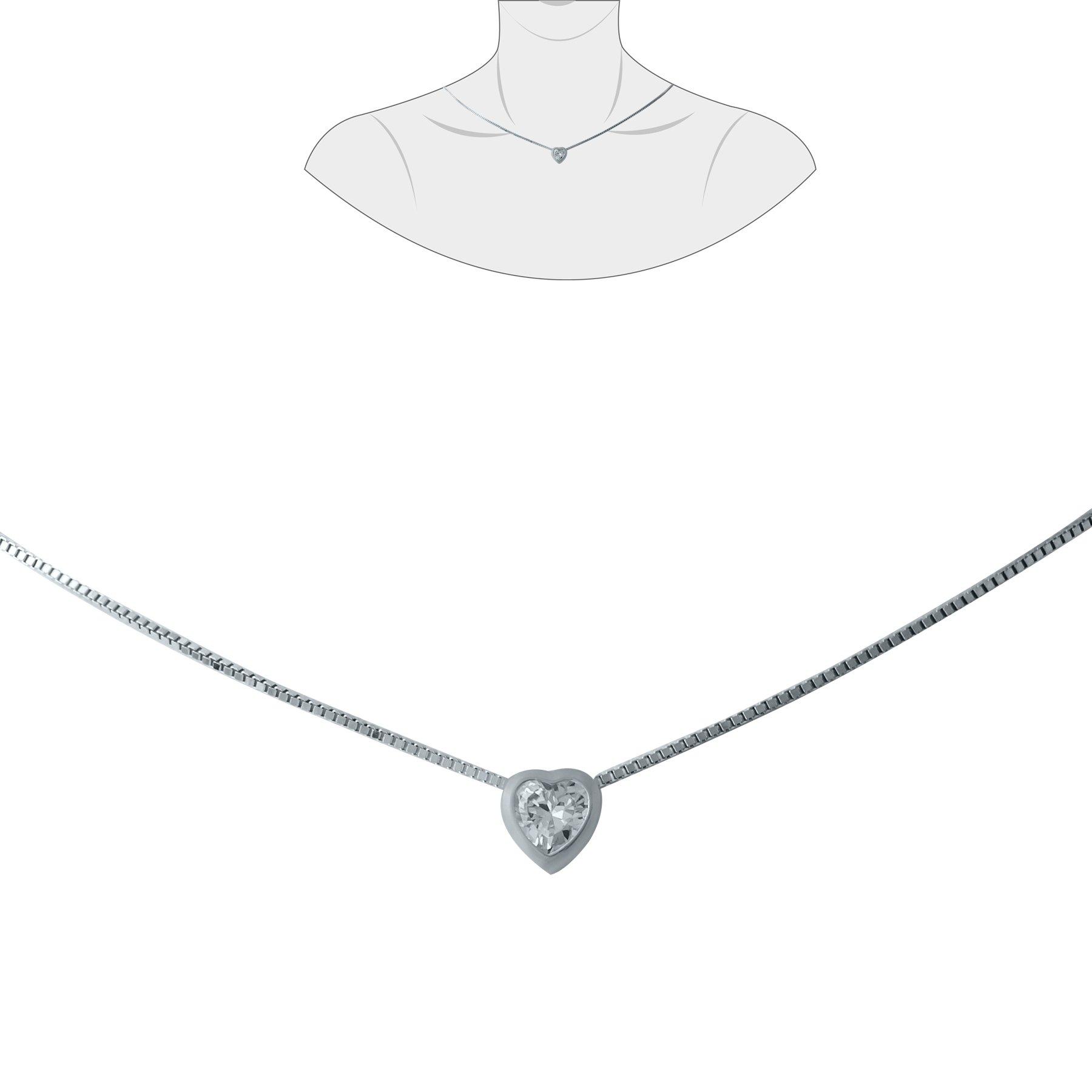 Серебряное колье Сердце с цирконием