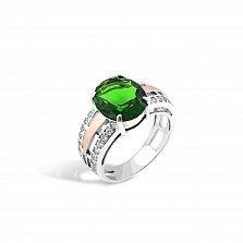 Серебряное кольцо Дамиана с золотой накладкой зеленым альпинитом и белыми фианитами