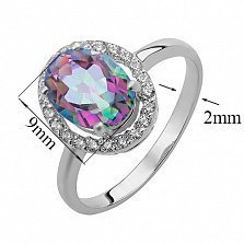 Серебряное кольцо Эйвис с мистик кварцем и фианитами
