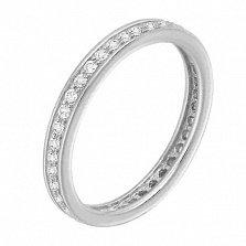 Золотое кольцо Лианора в белом цвете с дорожкой фианитов по всей шинке