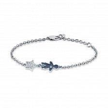 Серебряный браслет Малыш с синей эмалью и фианитами