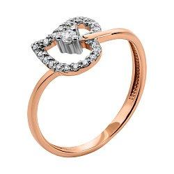 Золотое кольцо в комбинированном цвете с фианитами 000134106