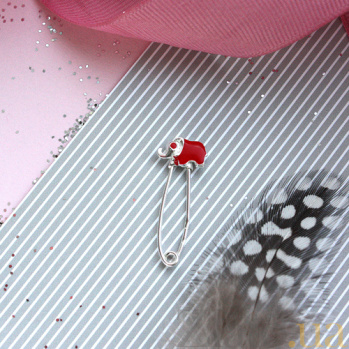 Серебряная булавка с красной  эмалью Слон LEL--09074