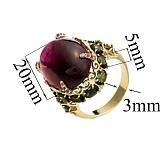 Золотое кольцо с гранатом и турмалином Рейши