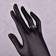 Серебряное кольцо Леда с сапфирами и фианитами