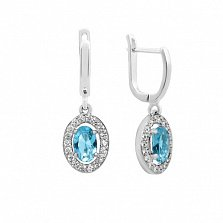 Серебряные серьги Лия с голубым топазом и фианитами