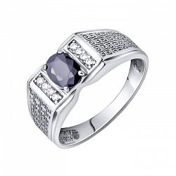 Серебряный перстень-печатка Люк с орнаментом на шинке, черным и белыми фианитами