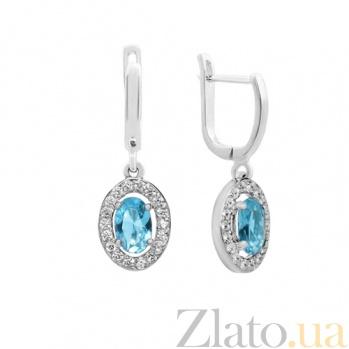 Серебряные серьги Лия с голубым топазом и фианитами 000032430