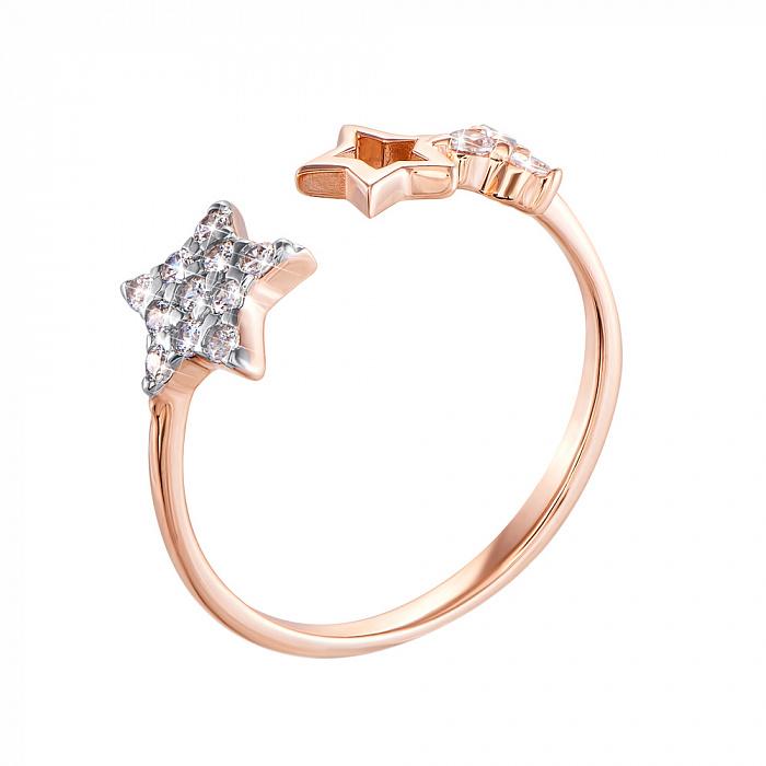 Кольцо в красном и белом золоте Две звезды с фианитами 000121623