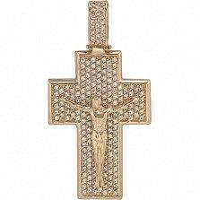 Золотой крестик Свет сердца с фианитами