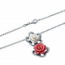 Серебряное колье Белая и красная роза с кораллом и перламутром