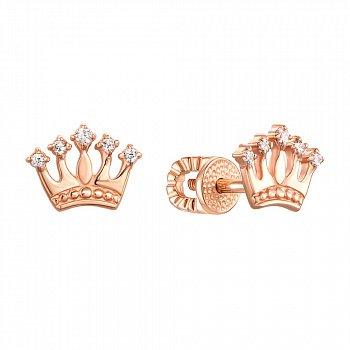 Серьги-пуссеты из красного золота с коронами и фианитами 000121543
