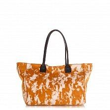 Кожаная сумка на каждый день Genuine Leather 8014 коньячного цвета с пятнистым принтом, на молнии