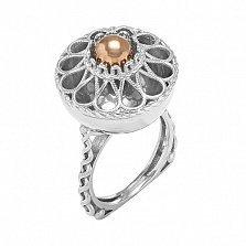 Серебряное кольцо Маргарита с золотой вставкой