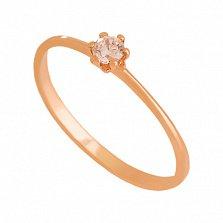 Кольцо из красного золота с фианитом Ориана