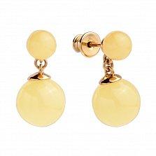 Серебряные серьги-пуссеты Абердин с подвесками-шариками, позолотой и лимонным янтарем