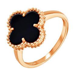 Золотое кольцо Клевер в красном цвете с агатом 000049330