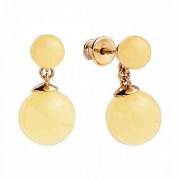 Серебряные серьги-пуссеты с подвесками-шариками, позолотой и лимонным янтарем 000099713