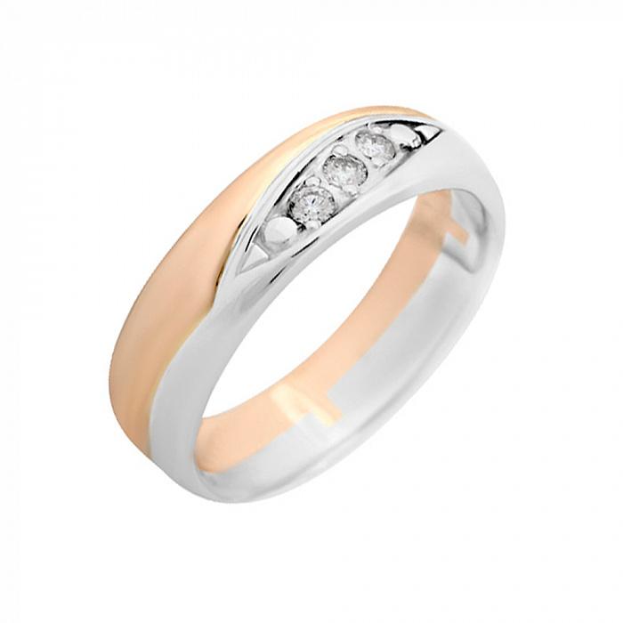 Золотое обручальное кольцо Леди Совершенство в комбинированном цвете с бриллиантами VLA--14420