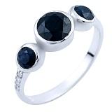 Серебряное кольцо Лилла с сапфирами и фианитами