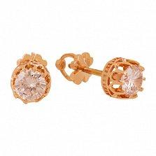 Золотые серьги-пуссеты с цирконием Королевна