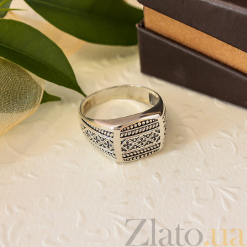 Серебряный перстень Вышиванка с чернением 000079058