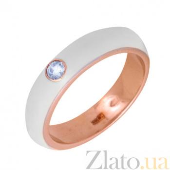 Золотое кольцо Пастель с фианитом и эмалью белого цвета К220кр/бел