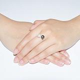 Серебряное кольцо Гамма с чёрным и белым жемчугом