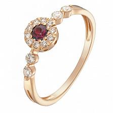 Кольцо в красном золоте Ирена с рубином и бриллиантами