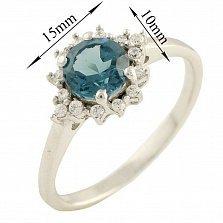 Серебряное кольцо Людвика с синтезированным топазом лондон и фианитами