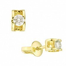 Серьги-пуссеты из желтого золота Идиллия с бриллиантами