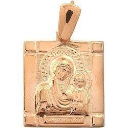 Золотая ладанка Богородица с Сыном 000046157