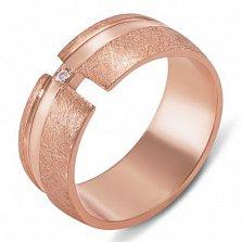 Золотое обручальное кольцо с фианитом Единение судеб
