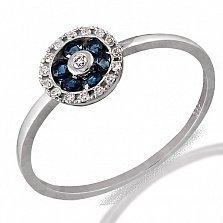 Кольцо из белого золота Астра с сапфирами и бриллиантами