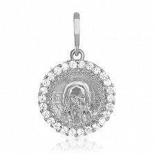 Серебряный подвес-ладанка с фианитами  Иисус Христос