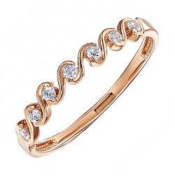 Кольцо из красного золота с фианитами 000104596