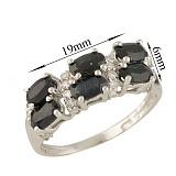 Серебряное кольцо Маджеста с сапфирами и фианитами