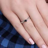 Золотое кольцо Луара с сапфиром и лейкосапфирами
