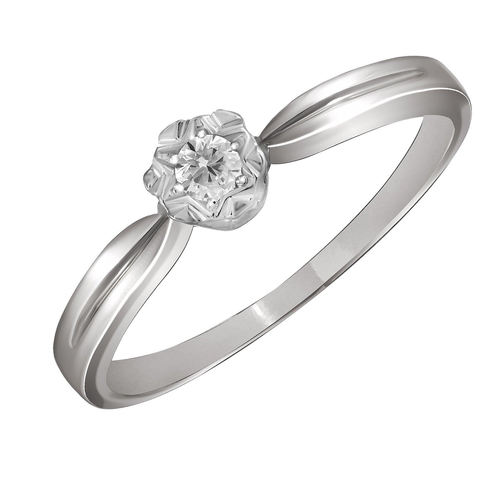 Помолвочное кольцо из белого золота Сангрия с бриллиантом и узорной насечкой