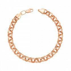 Браслет из красного золота в плетении бисмарк с алмазной гранью 000133257