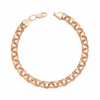Браслет з червоного золота в плетінні бісмарк з алмазною гранню 000133257