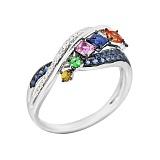 Золотое кольцо с цаворитом, сапфирами и бриллиантами Дельфиниум