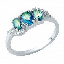 Серебряное кольцо Евлалия с топазом мистик и фианитами